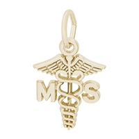 Rembrandt Medical Science Caduceus Charm, Gold Plated Silver