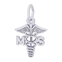 Rembrandt Medical Science Caduceus Charm, Sterling Silver