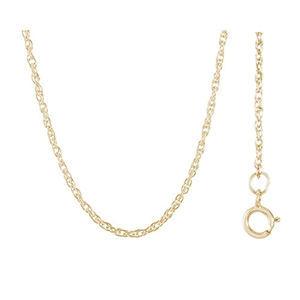 "16"" Rope Chain w/ Spring Ring Clasp , Gold Plated Silver"