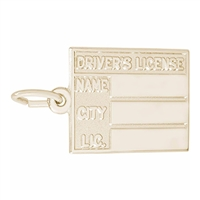 Rembrandt Drivers License Charm, Gold Plated Silver