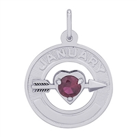 Rembrandt 01 January Birthstone Charm, Sterling Silver