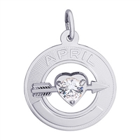 Rembrandt 04 April Birthstone Charm, Sterling Silver