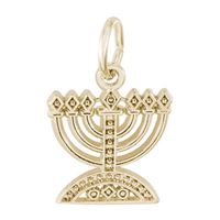 Rembrandt Menorah Charm, Gold Plated Silver