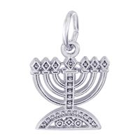 Rembrandt Menorah Charm, Sterling Silver