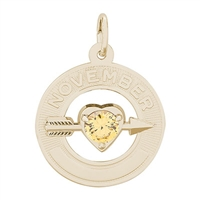 Rembrandt 11 November Birthstone Charm, Gold Plated Silver