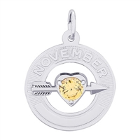 Rembrandt 11 November Birthstone Charm, 14K White Gold