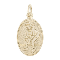 Rembrandt Female Softball  Charm, Gold Plated Silver