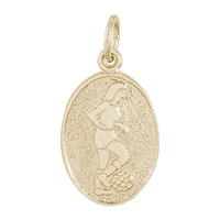 Rembrandt Female Soccer Charm, Gold Plated Silver