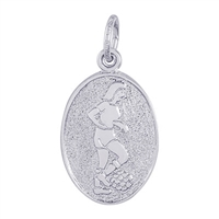 Rembrandt Female Soccer Charm, Sterling Silver