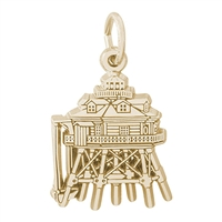 Rembrandt Thomas Point Lighthouse Maryland Charm, Gold Plated Silver
