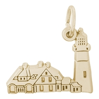 Rembrandt Portland Lighthouse Maine Charm, Gold Plated Silver
