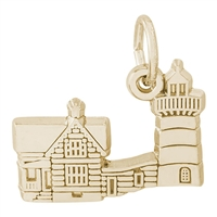 Rembrandt Nubble Lighthouse Maine Charm, Gold Plated Silver