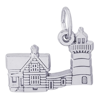 Rembrandt Nubble Lighthouse Maine Charm, Sterling Silver