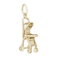 Rembrandt Stroller Charm, Gold Plated Silver