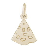 Rembrandt Cheese Slice Charm, Gold Plated Silver