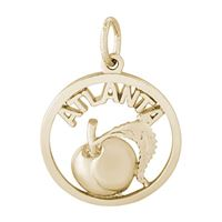 Rembrandt Atlanta Peach Charm, Gold Plated Silver