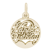 Rembrandt Happy Birthday Charm, Gold Plated Silver