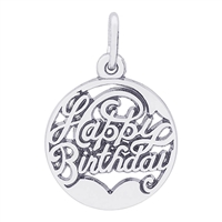 Rembrandt Happy Birthday Charm, Sterling Silver