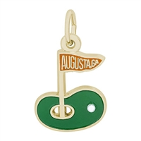 Rembrandt Augusta Golf Green Charm, Gold Plated Silver