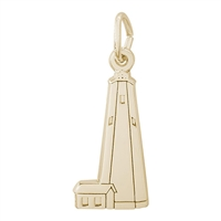 Rembrandt Bald Head Lighthouse Charm, Gold Plated Silver