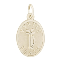 Rembrandt Myrtle Beach Golf Bag Charm, Gold Plated Silver
