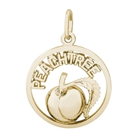 Rembrandt Peachtree Peach Charm, Gold Plated Silver