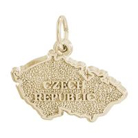 Rembrandt Czech Map Charm, Gold Plated Silver