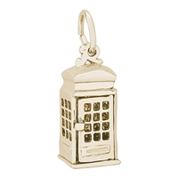 Rembrandt Phone Booth Charm, Gold Plated Silver