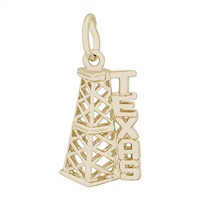 Rembrandt Texas Oil Rig Charm, Gold Plated Silver