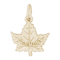 Rembrandt Vermont Maple Leaf Charm, Gold Plated Silver