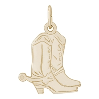 Rembrandt Cowboy Boots Charm, Gold Plated Silver