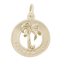 Rembrandt South Carolina Charm, Gold Plated Silver