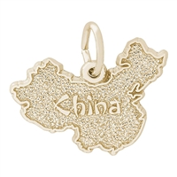 Rembrandt China Map Charm, Gold Plated Silver
