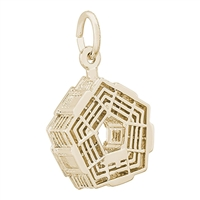 Rembrandt Pentagon Charm, Gold Plated Silver