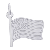 Rembrandt USA Flag Charm, 14K White Gold