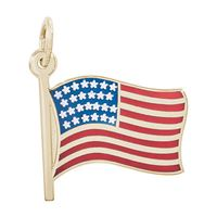 Rembrandt USA Flag Charm, Gold Plated Silver