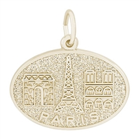 Rembrandt Paris Monuments Charm, Gold Plated Silver