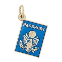 Rembrandt Passport Charm, Gold Plated Silver