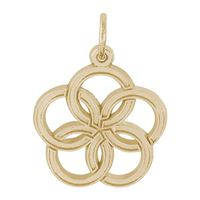 Rembrandt 05 Golden Rings Charm, Gold Plated Silver
