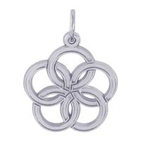 Rembrandt 05 Golden Rings Charm, Sterling Silver