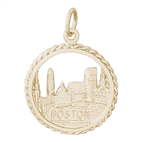 Rembrandt Boston Skyline Charm, Gold Plated Silver