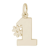 Rembrandt Number 1 Charm, Gold Plated Silver