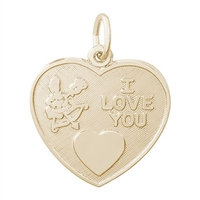 Rembrandt I Love You Charm, Gold Plated Silver