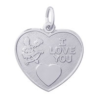 Rembrandt I Love You Charm, Sterling Silver