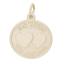 Rembrandt I Am Yours Hearts Charm, Gold Plated Silver