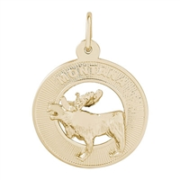 Rembrandt Montana Moose Charm, Gold Plated Silver