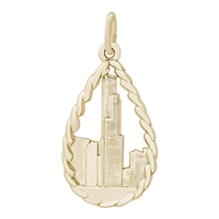 Rembrandt Sears Tower Charm, Gold Plated Silver