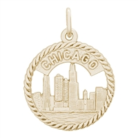 Rembrandt Chicago Skyline Charm, Gold Plated Silver