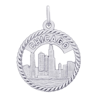 Rembrandt Chicago Skyline Charm, Sterling Silver