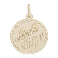 Rembrandt Adorable 10 Charm, Gold Plated Silver